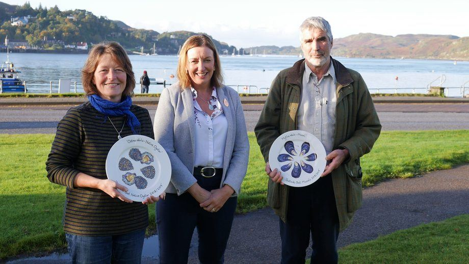 Winners Judith Vajk, left, and Douglas Wilson with Elaine Jamieson, head of food and drink at Highlands and Island Enterprise, who was one of the judges of the competition. HIE also sponsored the prize plates. Photo: FFE