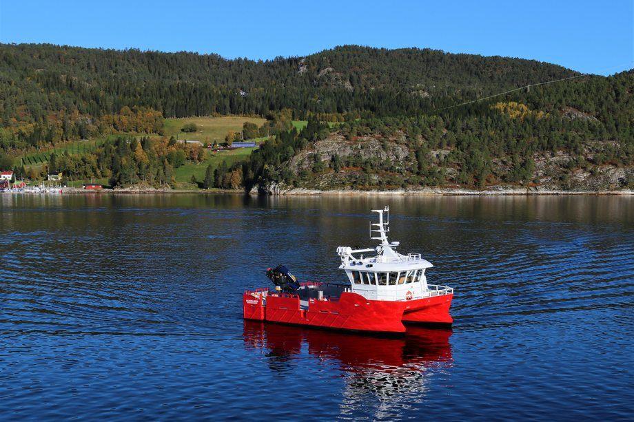 Fartøyet «Nordbjørn» er Marine Harvest første Moen-båt. Foto: Moen Marin.