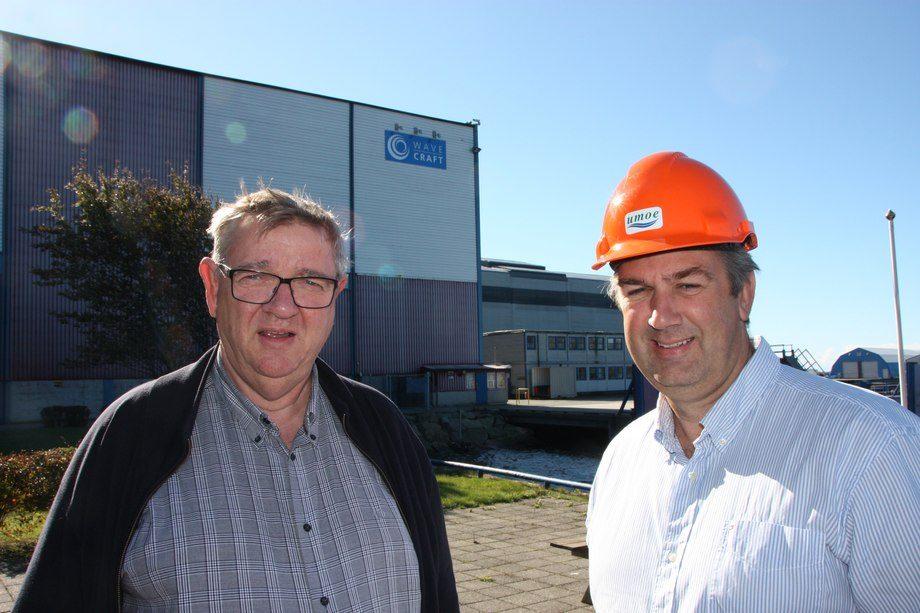Administrerende direktør i Umoe Tom Harald Svennevig og prosjektdirektør Peter Reed-Larsen satser på tilbringerskip til vindparker. Foto: Sigbjørn Larsen.