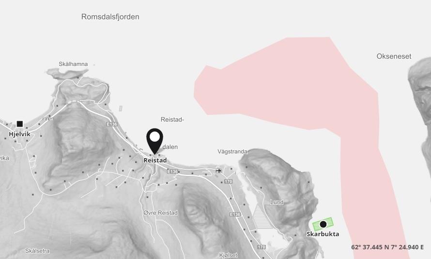 Salmar Farming har meldt inn at de har mistanke om ILA på lokaliteten Reistad. Foto: Barentswatch kart.