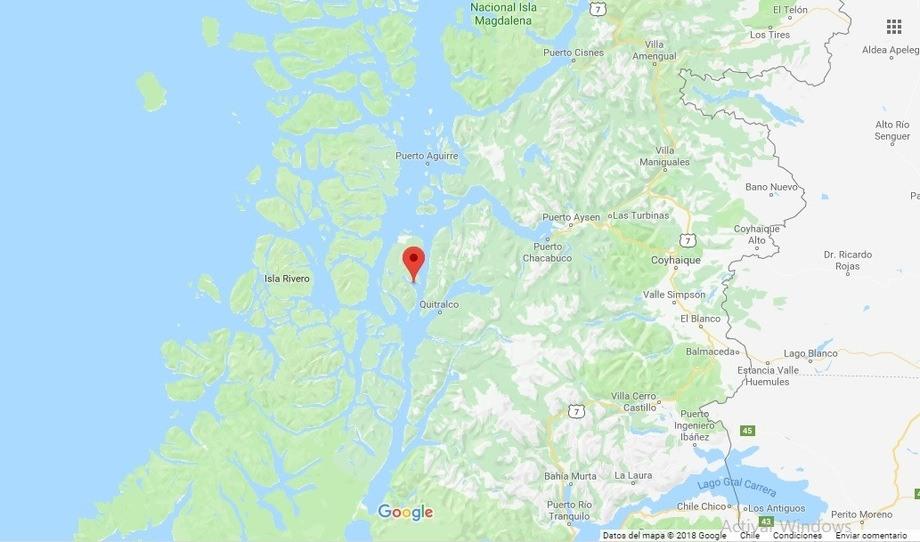 Localización canal estero elefante (45°39′16.50″S–73°35′59.40″W). Foto: Google maps.