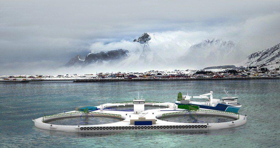 FjordMAX - en triangulær bærende konstruksjon i stål med tre produksjonsenheter. Foto: NSK Ship Design.