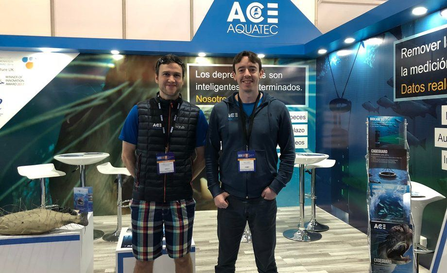 Andrew Gillespie, left, and Mike Forbes at Aqua Sur, where Gillespie's language skills helped secure new orders. Photo: Ace Aquatec.