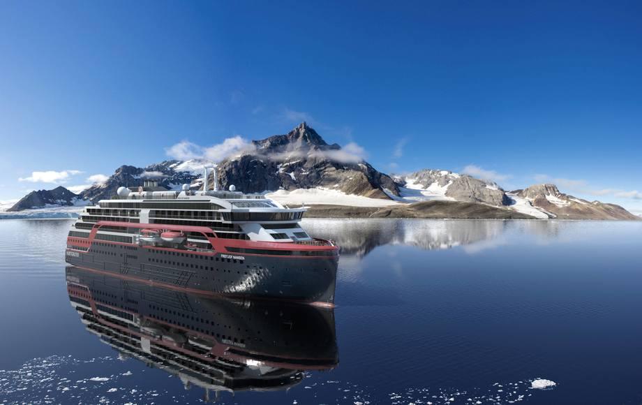 «Fridtjof Nansen»  på Svalbard. Illustrasjon: Hurtigruten