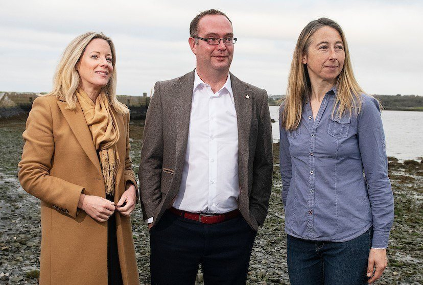 From left: Vera Flynn of BIM Finfish Certification, Damien O'Keefe from the Irish Salmon Growers' Association and aquatic veterinary Susie Mitchell are among those at the conference in Galway. Photo: Andrew Downes Photography / BIM