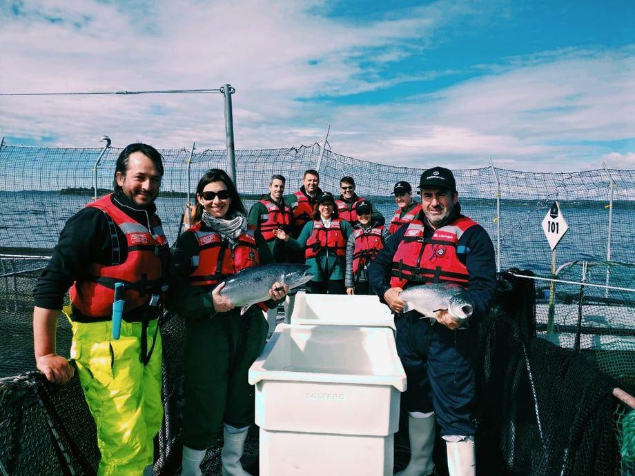 La Embajadora de Canadá en Chile, Patricia Peña, encabezó delegaciones diplomáticas de su país y del Reino Unida a instalaciones de Marine Harvest. Foto: Marine Harvest.