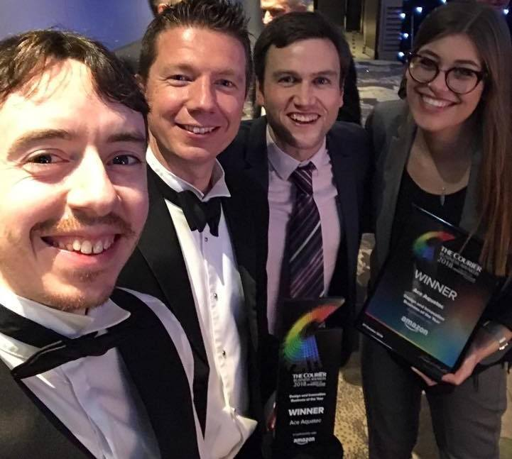 From left: Ace Aquatec's sales chief Mike Forbes, MD Nathan Pyne-Carter, operations and support specialist Andrew Gillespie and marketing specialist Michelle Wildeboer after winning a Courier business award in 2018.. Photo: Ace Aquatec / Facebook