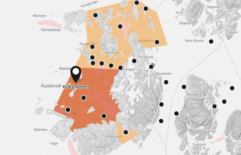 ILA-mistanke på to lokaliteter i Austevoll kommune. Kviksholmen ligger i bekjempelsessone for ILA. Foto: Barentswatch.