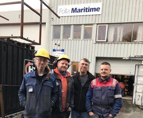 Folla Maritime har ansatt fire nye i staben sin. Disse er Mariej, Remi, Dariusz og Artur. Foto: Folla Maritime.