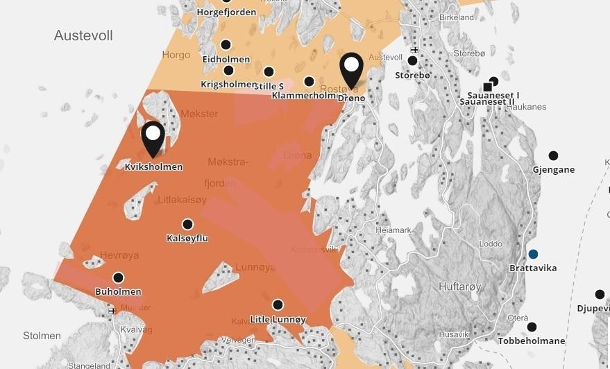 Det er meldt om ILA-mistanke på lokalitetetene Drøno og Kviksholmen i Austevoll kommune. Nå slakter oppdrettsselskapene ut all fisken. Illustrasjonskart: Barentswatch.