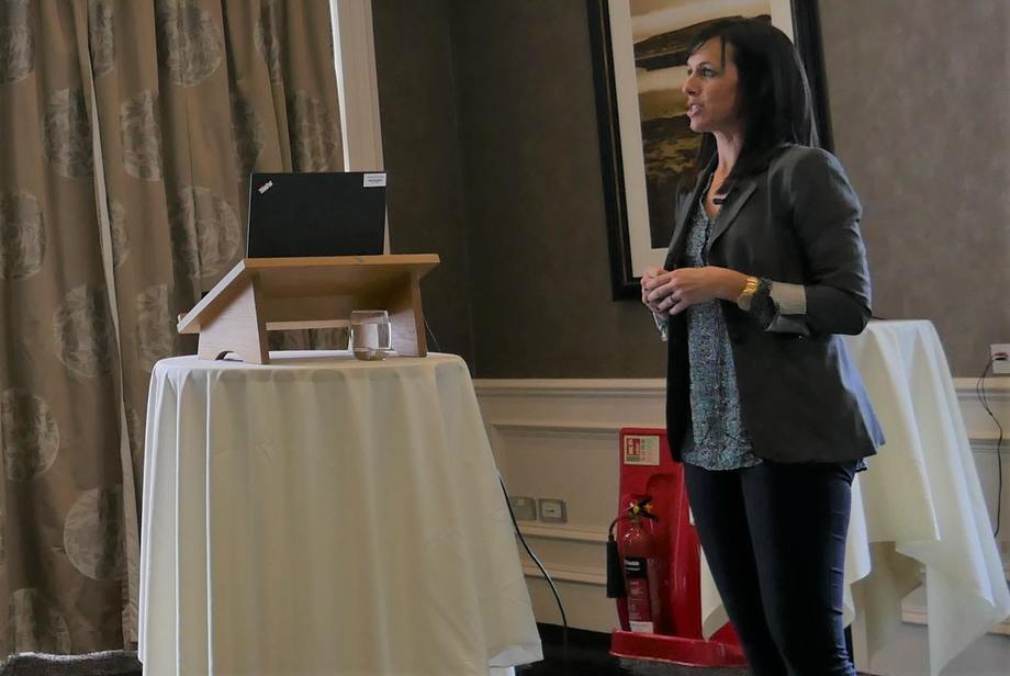 Laura Braden updates fish health professionals about lice resistance research at the Pharmacademy event in Inverness. Photo: FFE