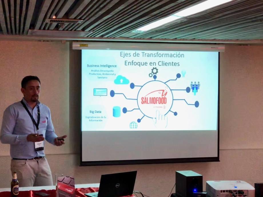 Presentación de Jaime Alarcón en la Conferencia Sea Lice 2018. Imagen: Salmofood.