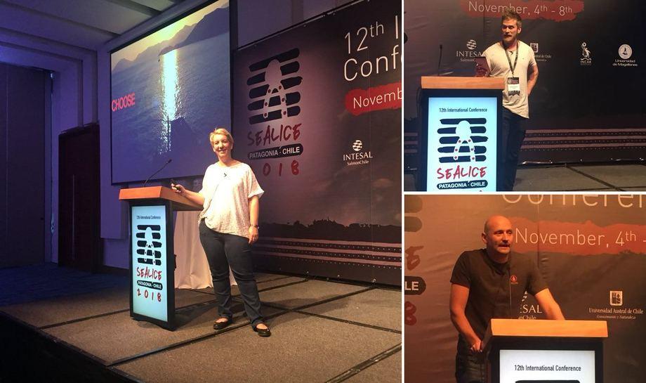 Polly Douglas (t.v.), Tróndur Kragesteen (h. øverst) og Mark Fast ((h. nederst) argumenterte for Skottland, Færøyene og Australia som potensielle kandidater for den neste Sealice-konferansen om to år. Foto: INCAR.