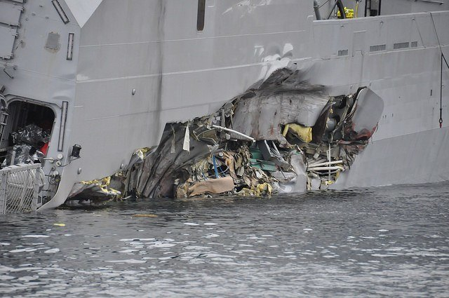 Store skader på fregatten Foto: Kystverket