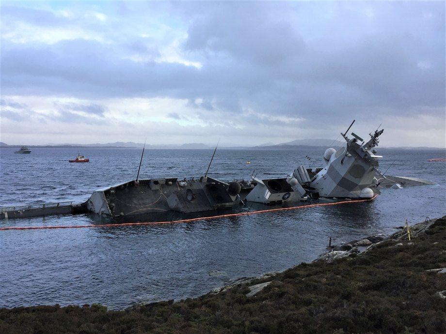 Vest Politidistrikt er nå ferdige med etterforskningen etter kollisjonen mellom «Helge Ingstad» og tankskipet «Sola TS» i 2018. Foto: Vibeke Blich