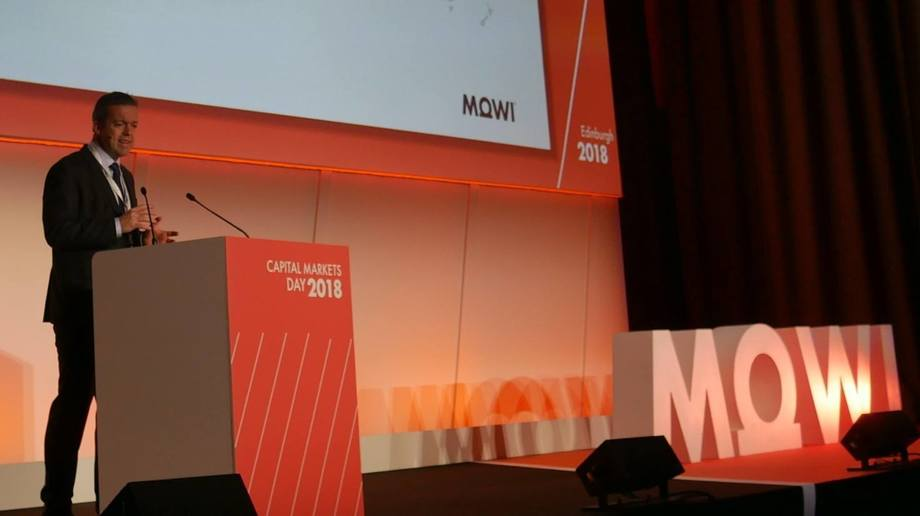Alf-Helge Aarskog introduces the Mowi brand in Edinburgh last month. The change was approved by shareholders today. Photo: FFE