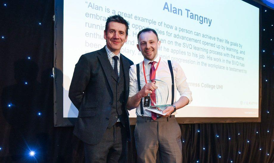 Alan Tangny, pictured with 2018 host Dougie Vipond,  won last year's Aquaculture Learner of the Year award. Photo: FFE.