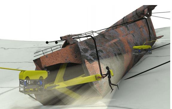 Sikring av vrak. Illustrasjon: NUI, rapport til Kystverket 2011