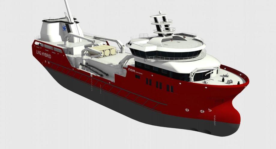 Verdens første LNG Hybrid brønnbåt er bestilt av Nordlaks og designet av NSK Ship Design. Foto: NSK Ship Design.