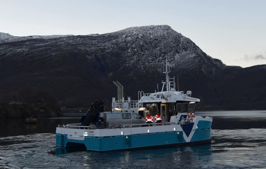 I november ble fartøyet «Lundøy» overlevert til Cermaq Norway avd. Nordland. Foto: Grovfjord Mek. Verksted.