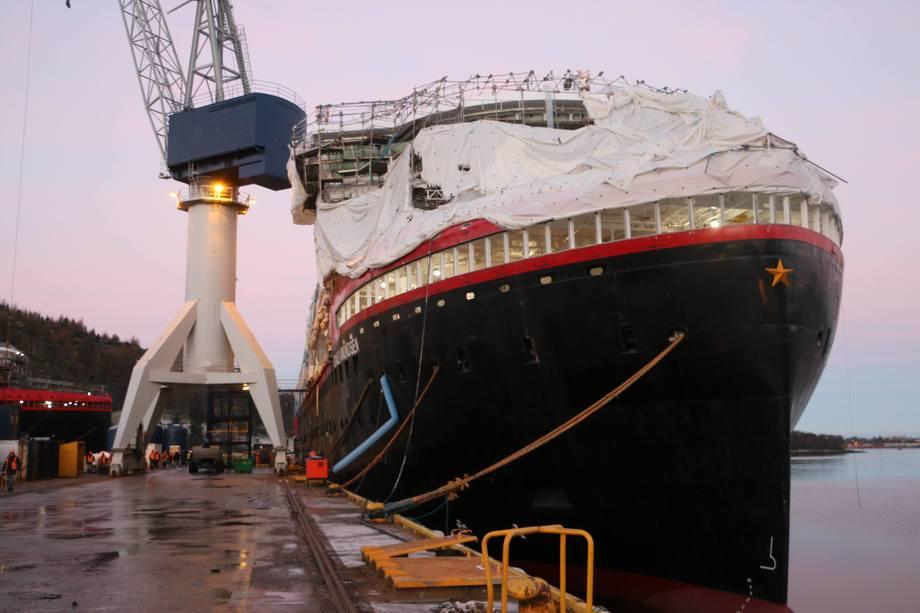 Det nærmer seg for Hurtigrutens nye flaggskip