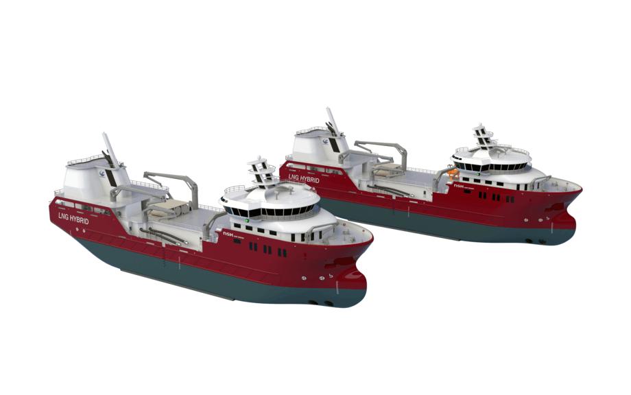 Nordlaks har bestilt to nye gass-hybrid brønnbåter. Illustrasjon: NSK Ship Design