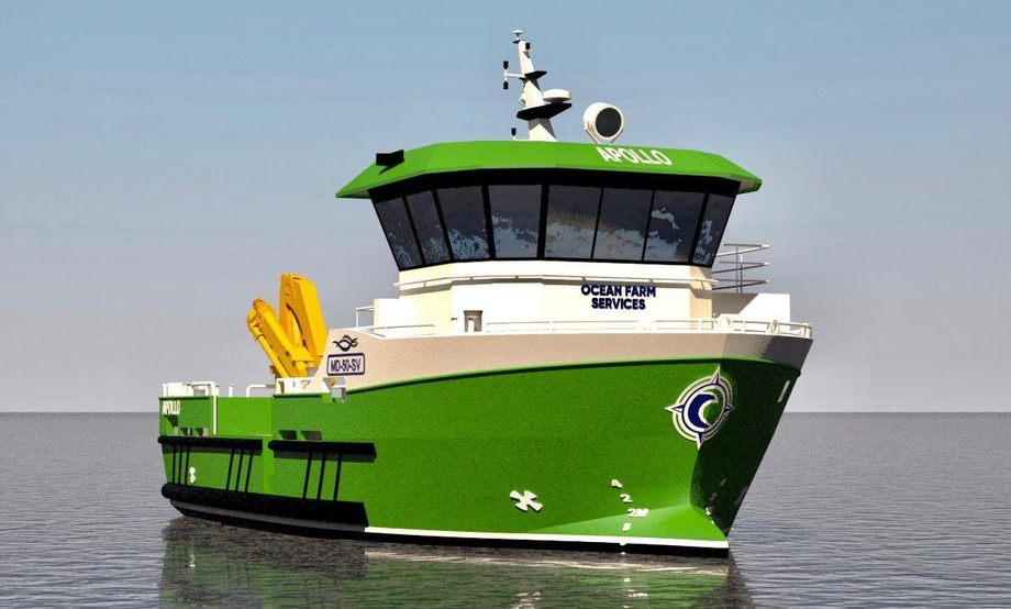 An illustration of the new Ocean Farm Services vessel, which will be primarily used for net washing. Image: Marin Design AS.