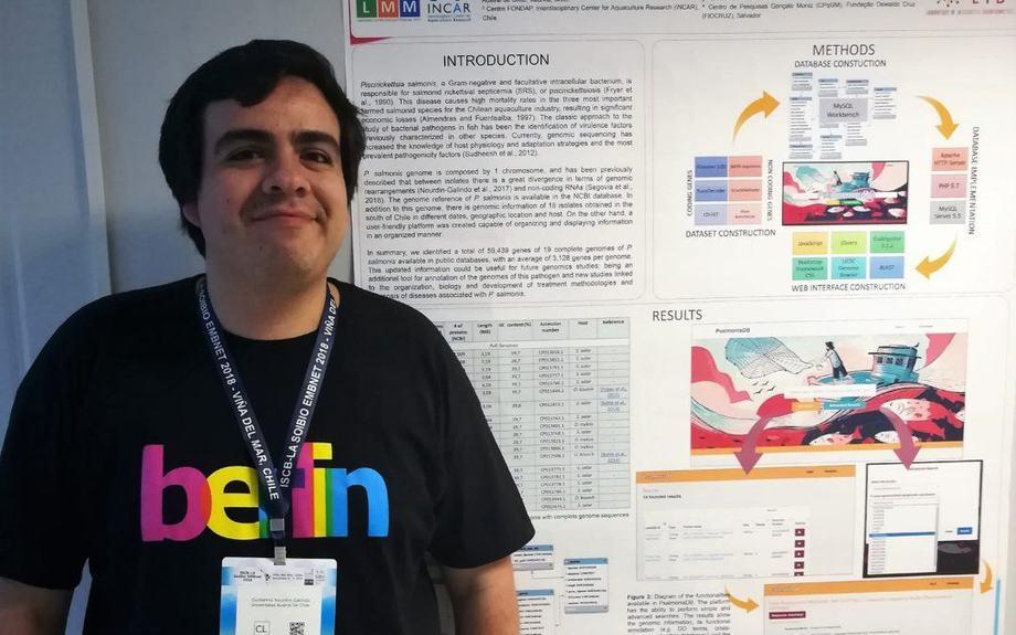 """Guillermo Nourdin, Magíster (c) en Microbiología de la línea """"Salud Animal en el Ambiente Marino"""" (RP3 del Centro Incar). Foto: Incar."""