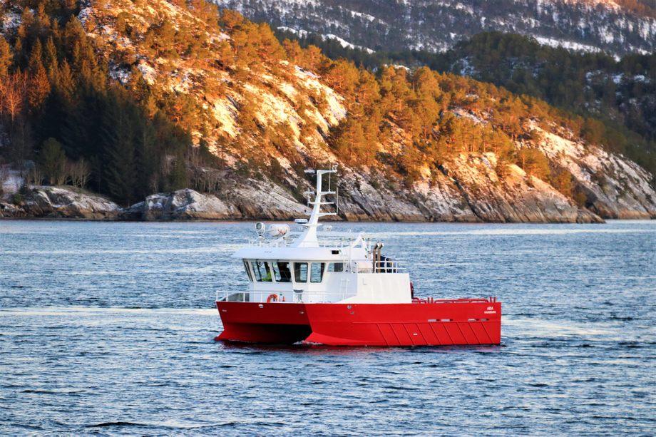 «Aida» ble overlevert IMENCO Havbruk i slutten av desember og ble Moen Marins siste levering for 2018. Foto: Moen Marin AS.