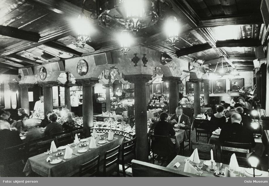 Løsepengene for Einar Gerhardsen og Georg von Erpecom skal ha blitt kanalisert via restaurant Blom i Oslo. Foto: Oslo Bymuseum.