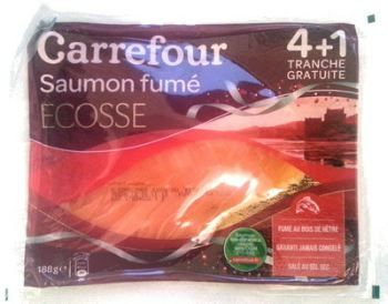 Scottish smoked salmon produced by Marine Harvest Kritsen, marketed under the Carrefour brand.