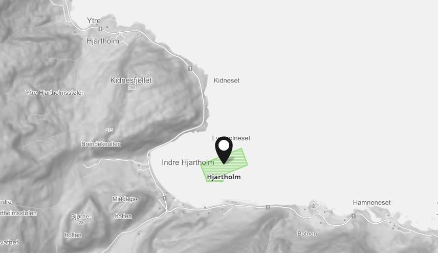 Mattilsynet opplyser at Mowi-lokaliteten Hjartholm har fått påvist PD forårsaket av SAV2 og SAV3. Kartillustrasjon: Barentswatch.