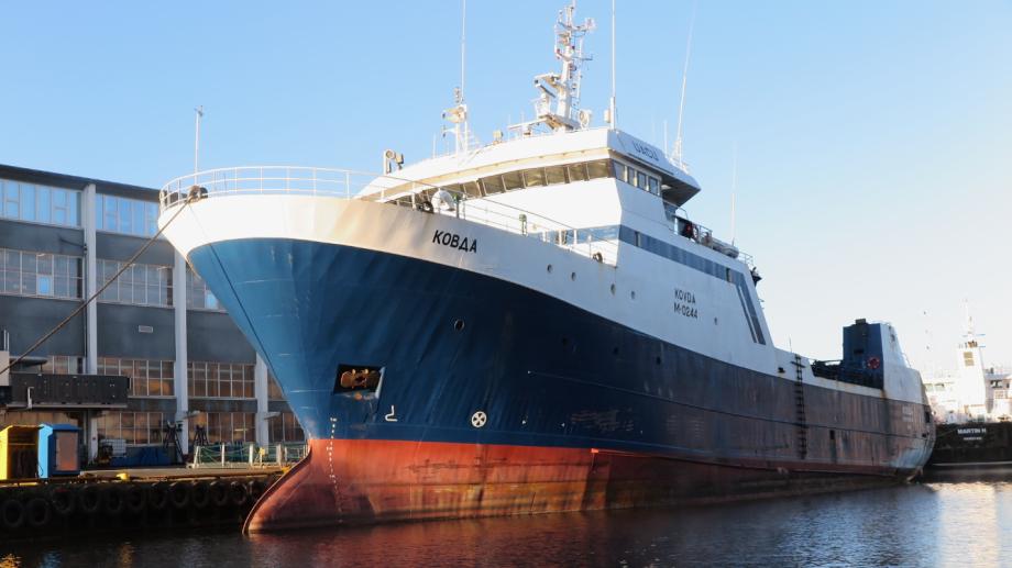 Den tidlegare skjell-trålaren ex MV «Kovda» skal no byggast om ved Los Marine på Rubbestadneset