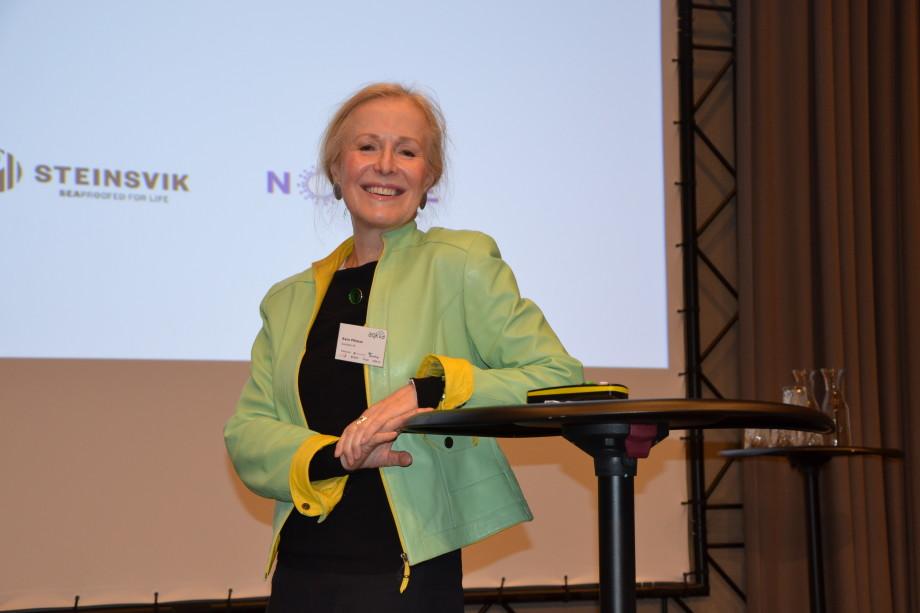 Karin Pittman i Quantidoc snakket om fiskens slimlag under aqKva-konferansen i Bergen torsdag. Foto: Ole Andreas Drønen/Kyst.no.