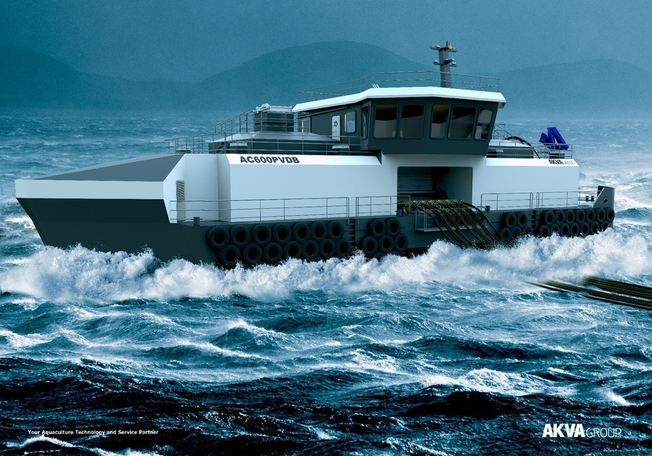 The new feed barge will include a dock for a workboat. Image: AKVA.