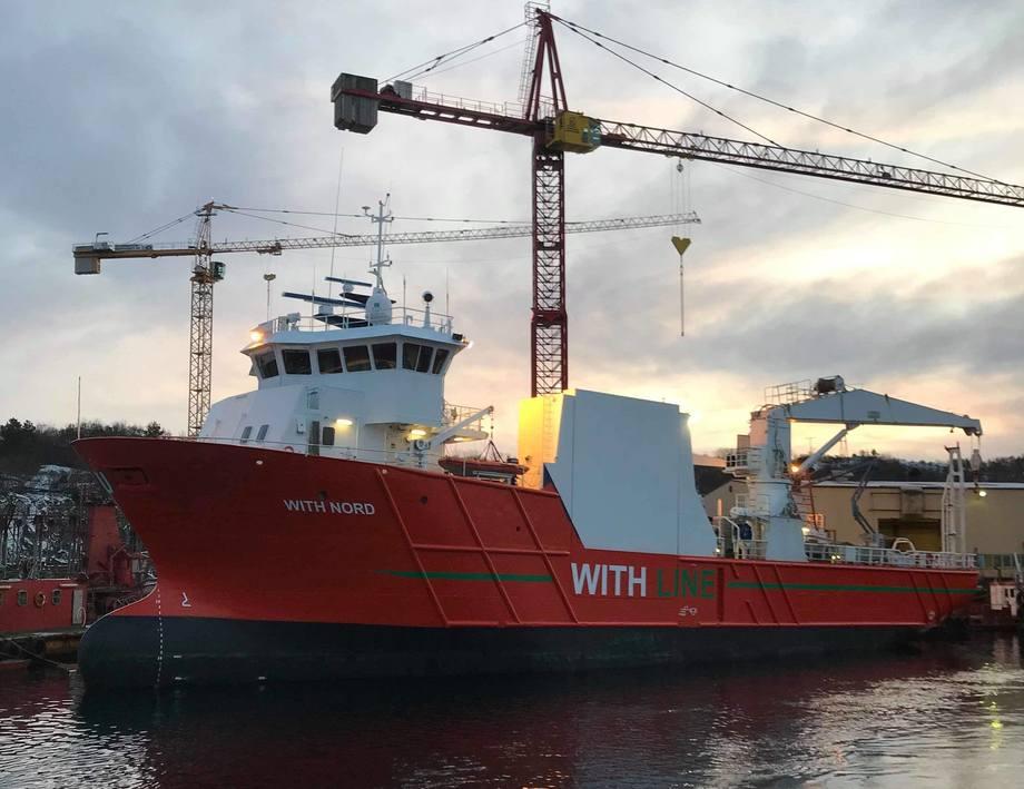 Ved årsskiftet satt Egil Ulvan Rederi i drift With Nord, som er et fartøy som skal kjøre stykkgods og fiskefor på strekningen Ålesund – Finnmark. Foto: Egil Ulvan Rederi.