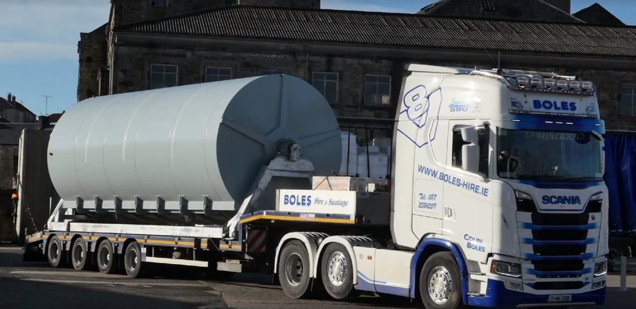 Thinking bigger: W&J Knox's 56m³ net washer is delivered from Ireland. Photo: W&J Knox.