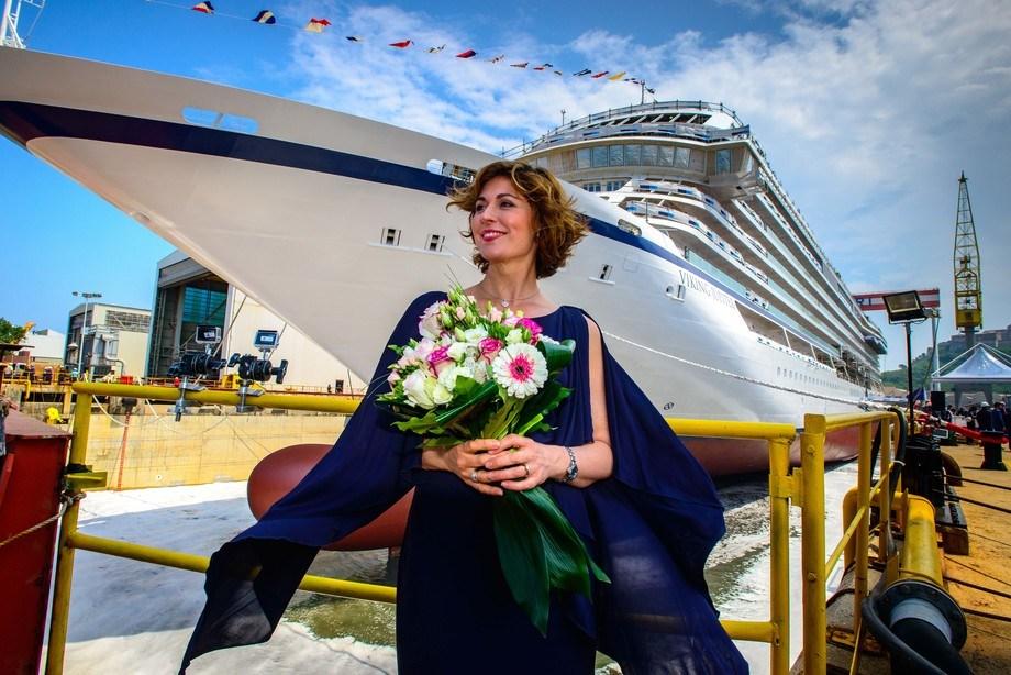 Sissel Kyrkjebøhar fått æren av å væregudmorfor Viking Jupiter. Skipet har Bergen som hjemmehavn. FOTO:Viking OceanCruises