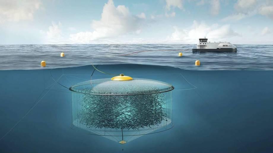 Prosjektet Atlantis Subsea Farming AS har fått en utviklingstillatelse og Atlantis Subsea Farming AS er nå i en teknologitestingsfase med hensyn til gjennomføringen av prosjektet. Illustrasjon. AKVA group.