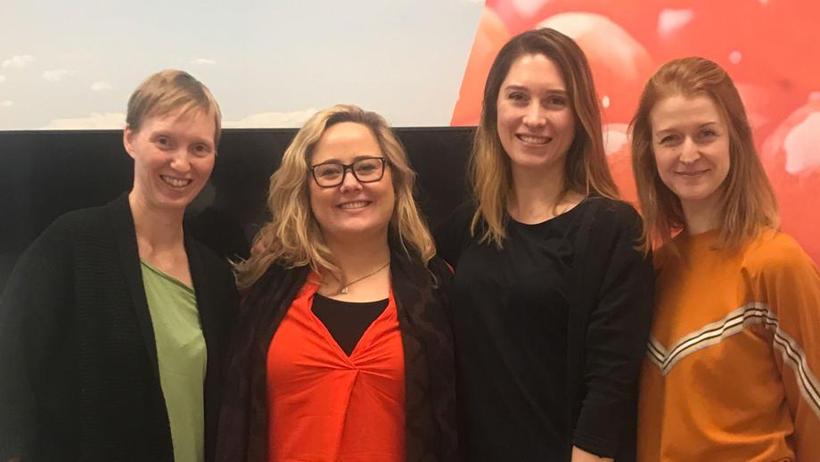 Arbeidsgruppen: fra venstre Annette Fagerhaug Stephansen (NORCE), Katinka Bratland (BTO), Mona Leirgulen (BTO) og Marit Eggen (HVL).