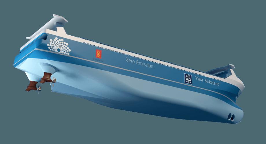 Illustrasjonen viser de to trekkende azimuth propellene fra Brunvoll som skal besørge framdrift og manøvrering av verdens første autonome skip