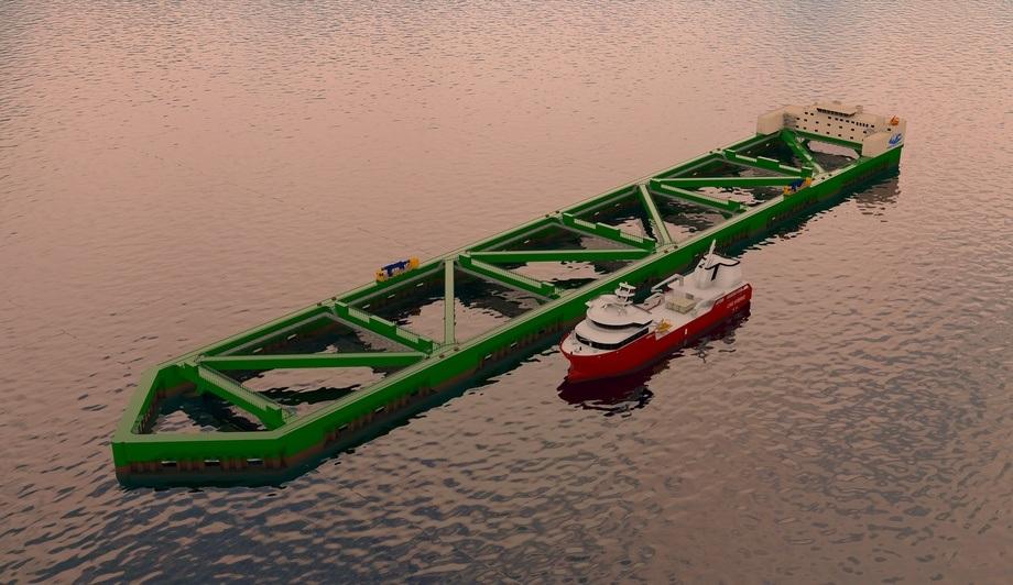 Byggingen av havfarmen går i følge Nordlaks etter planen. Den skal ankres opp på lokalitet første halvår 2020. Foto: Nordlaks
