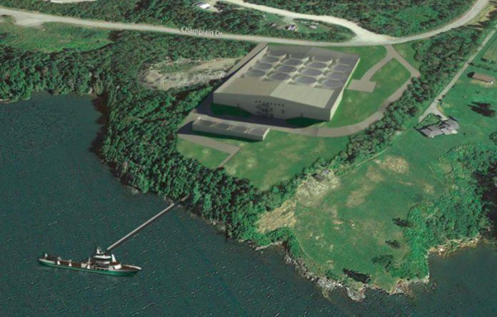 Cooke Aquaculture's proposed $30 million dollar facility in Bayside, NB. Image:Cooke Aquaclture