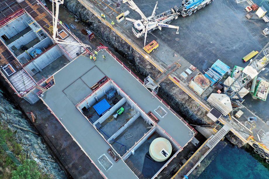 Produksjonsanlegget til Endúr Sjøsterk på Stamsneset i Bergen – tatt tidligere i vinter. Foto: Endúr Sjøsterk.
