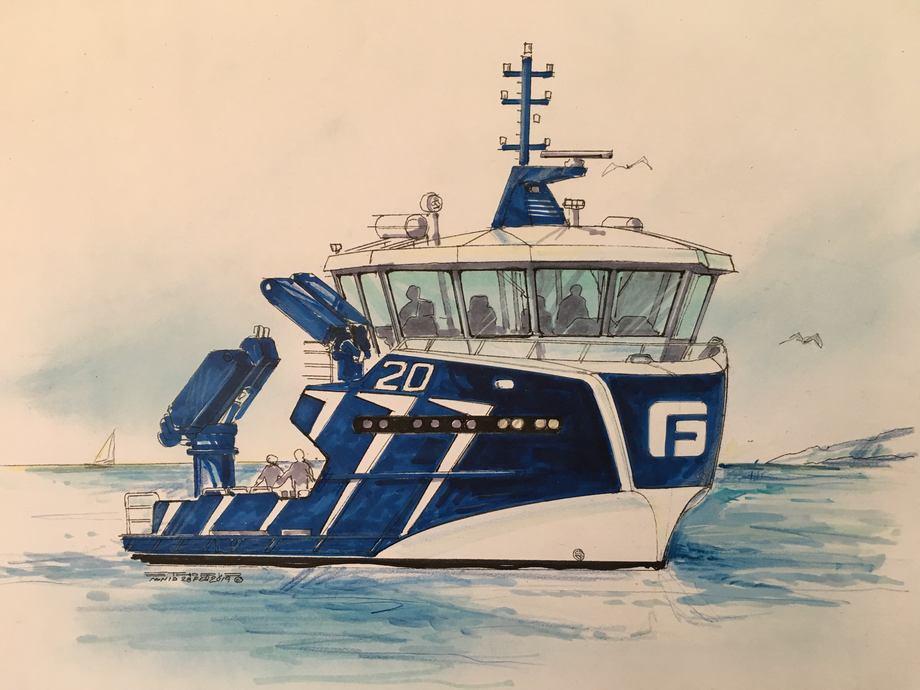 Frøy Akvaressurs skal få nok et servicefartøy levert av Sletta Verft. Skisse: Møre Maritime.
