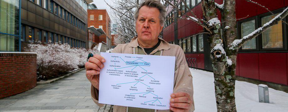 Petter Olsen, de Nofima, ha creado una norma europea que define muchos de los términos y conceptos en inglés utilizados en relación con el fraude alimentario. Foto: Nofima.