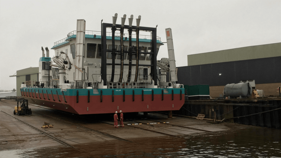 The Euro Special Purpose Pontoon, fitted with four Hydrolicer lines, seen at Neptune's Aalst yard. Photo: Neptune Marine.