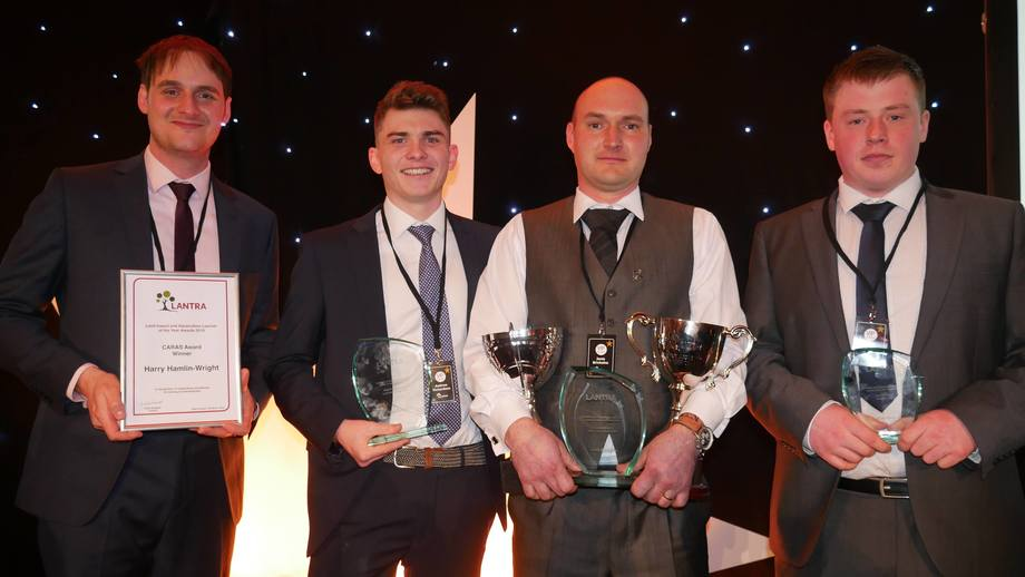 Aquaculture's award winners in 2019: from left, Harry Hamlin-Wright (Dawnfresh), Andrew Richardson (UHI), triple winner Janis Brivkalns (SSC) and Billy Welsh (SSF). Photo: Gareth Moore / FFE.