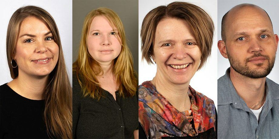 De fire nyansatte assisterende forskningssjefene i Trondheim (fra v.) Anne Kristin Jøranlid (37), Tonje Aronsen (37), Bente Rønning (49) og Jørgen Rosvold (37). Foto: Arnstein Staverløkk, NINA