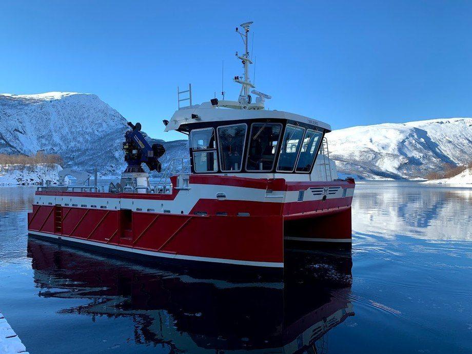 Fartøyet «Sifjord» ble nylig overlevert til Eidsfjord Sjøfarm AS. Foto: Grovfjord Mek. Verksted.